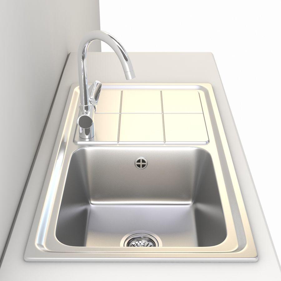 Lavello da cucina con rubinetto royalty-free 3d model - Preview no. 4