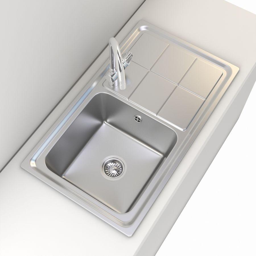 Lavello da cucina con rubinetto royalty-free 3d model - Preview no. 5