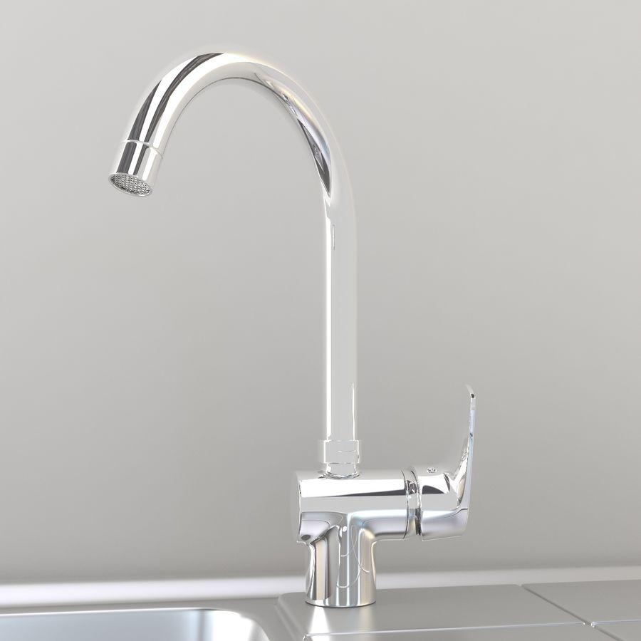 Lavello da cucina con rubinetto royalty-free 3d model - Preview no. 3