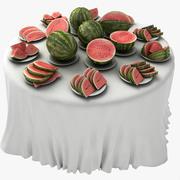 Melon Table Fruit Dish Restaurant 3d model