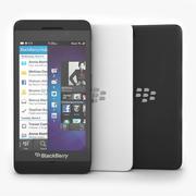 Blackberry Z10 Smartphone preto e branco 3d model