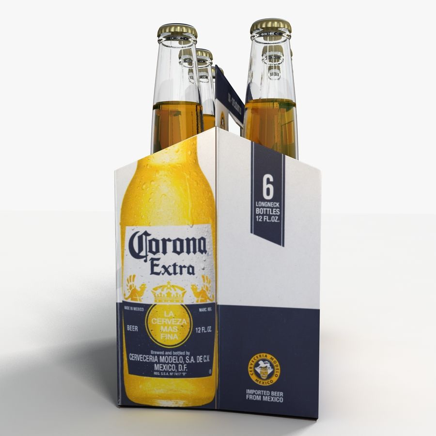 Six Pack of Corona Extra royalty-free 3d model - Preview no. 5