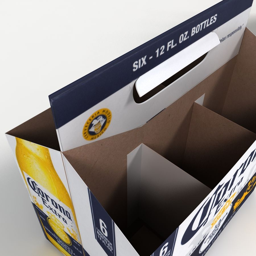 Six Pack of Corona Extra royalty-free 3d model - Preview no. 4