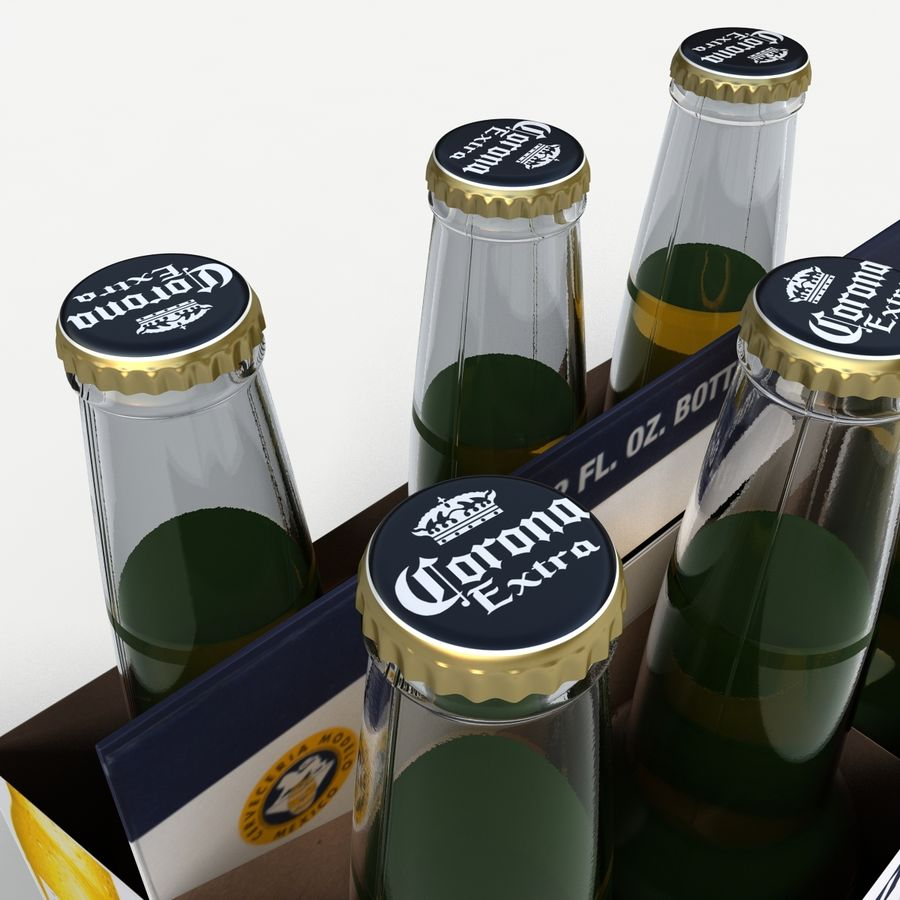 Six Pack of Corona Extra royalty-free 3d model - Preview no. 3