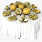 Cerimonia di nozze bianca di celebrazione del ristorante del piatto di frutta della tavola del melone 3d model