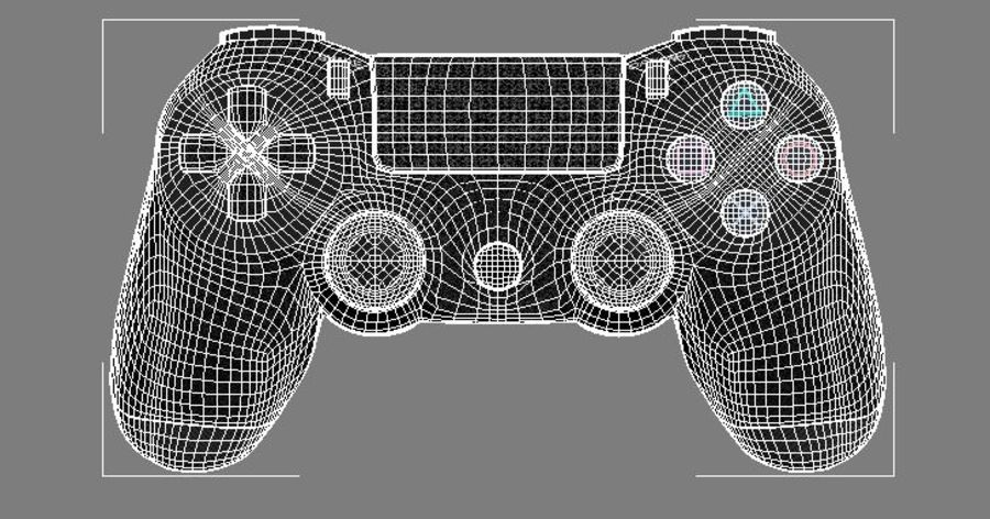 High Res Sony Playstation dualshock 4 controller royalty-free 3d model - Preview no. 2