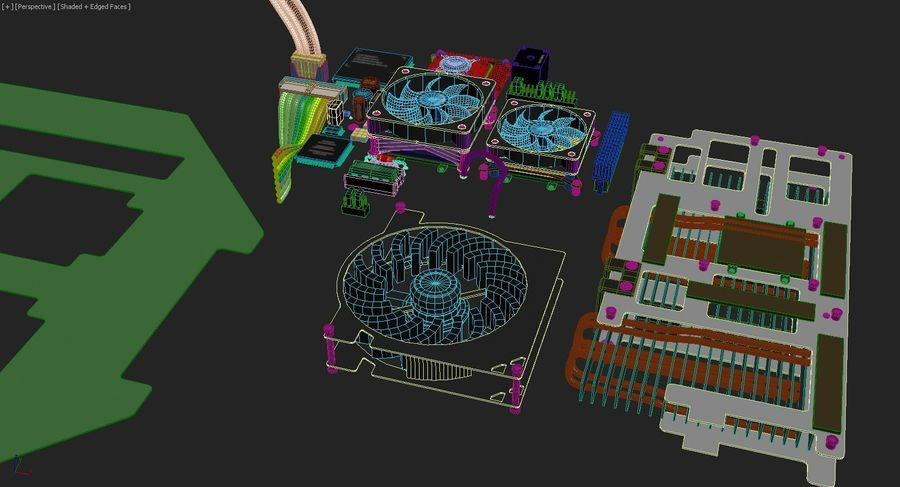 Scheda elettronica - Componenti royalty-free 3d model - Preview no. 1