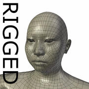RIGGED Obese asiatisk kvinna basmesh 3d model