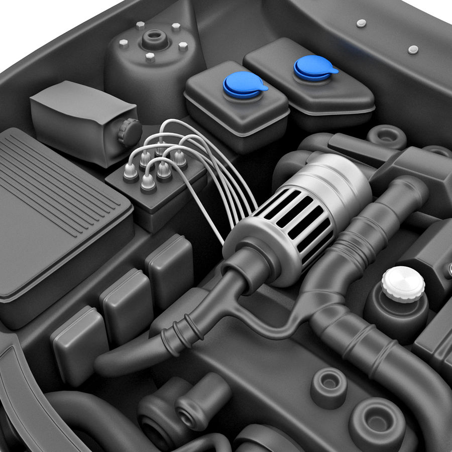 Subaru Araba Motoru royalty-free 3d model - Preview no. 8