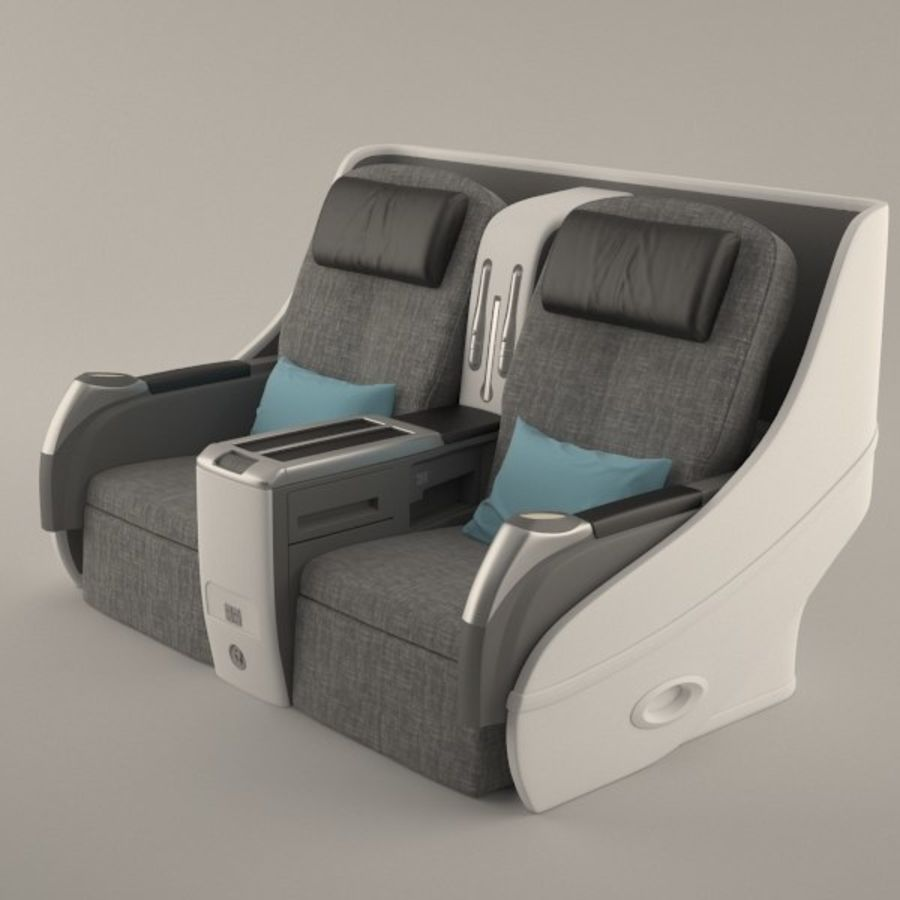 Airplane Business Chair royalty-free 3d model - Preview no. 1