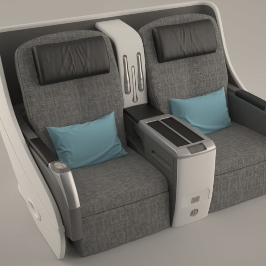 Airplane Business Chair royalty-free 3d model - Preview no. 2