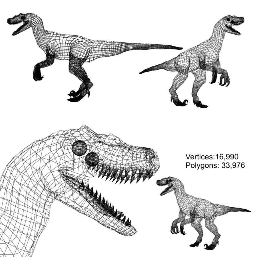 velociraptor dinosaurie royalty-free 3d model - Preview no. 6