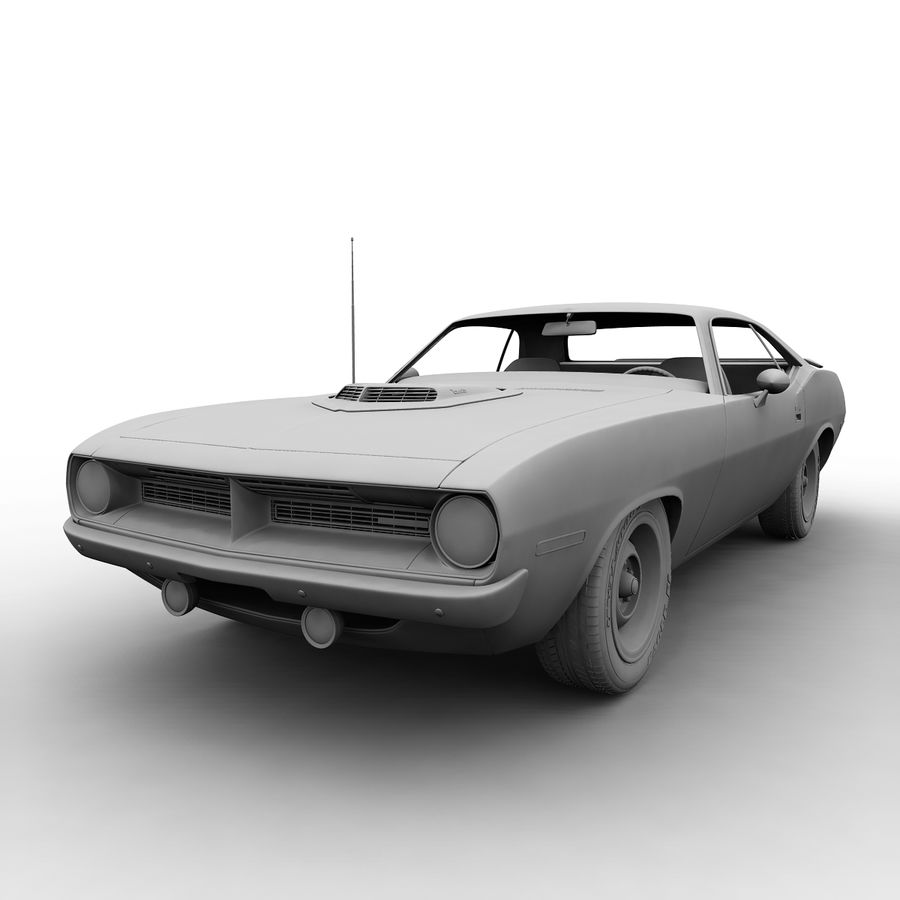 Plymouth Barracuda 70 royalty-free 3d model - Preview no. 8