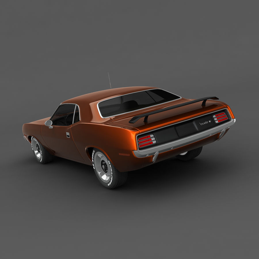 Plymouth Barracuda 70 royalty-free 3d model - Preview no. 3