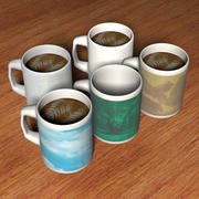 5 Detailed Mugs of Delicious Coffee 3d model