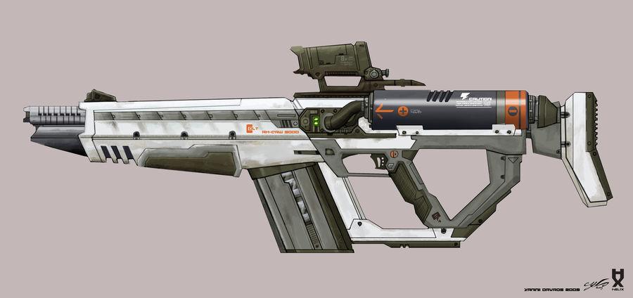 Rail Gun Rifle royalty-free 3d model - Preview no. 4