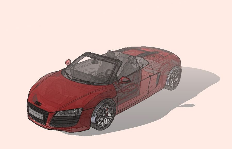 2008 Audi R8 Spyder (1) royalty-free 3d model - Preview no. 1