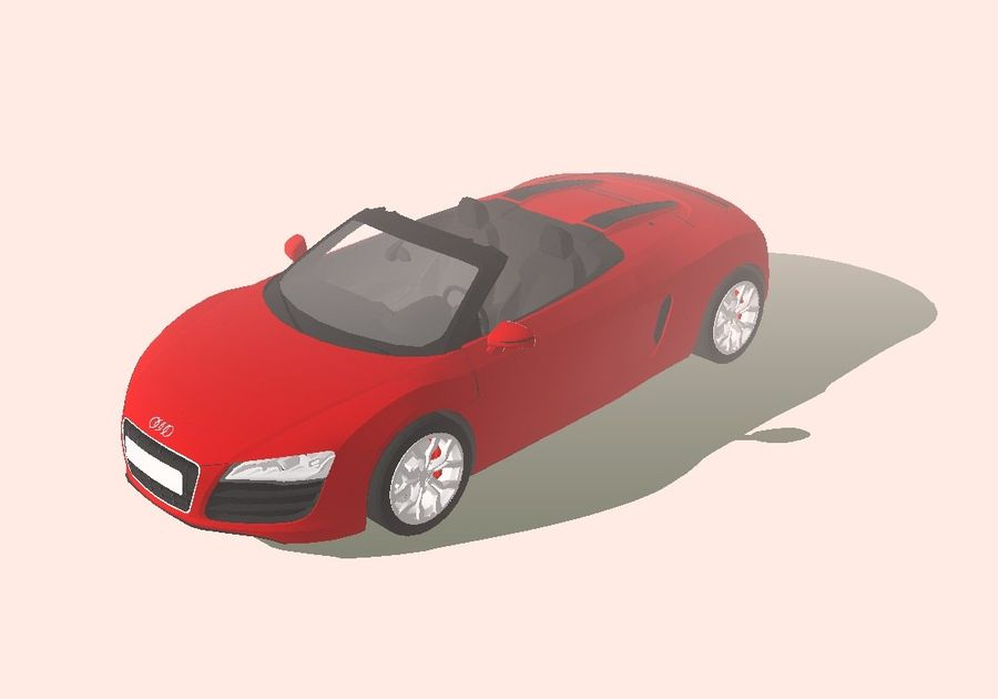 2008 Audi R8 Spyder (1) royalty-free 3d model - Preview no. 3