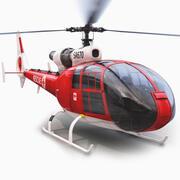 Reddingshelikopter op zee 3d model