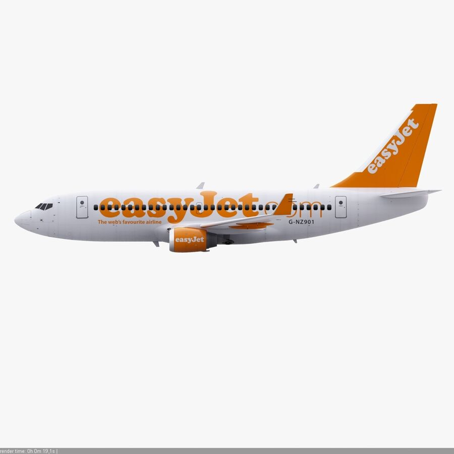 Boeing 737-800 EasyJet royalty-free 3d model - Preview no. 12