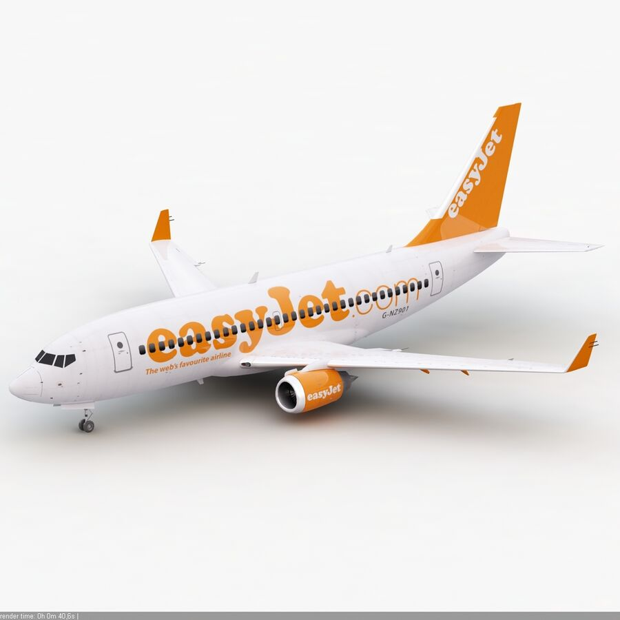 Boeing 737-800 EasyJet royalty-free 3d model - Preview no. 5