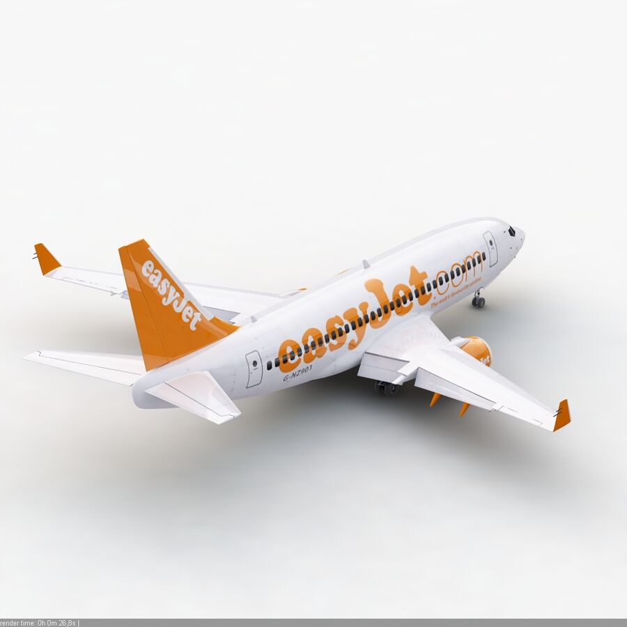 Boeing 737-800 EasyJet royalty-free 3d model - Preview no. 7