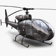 SA Gazelle Black Helicopter 3d model