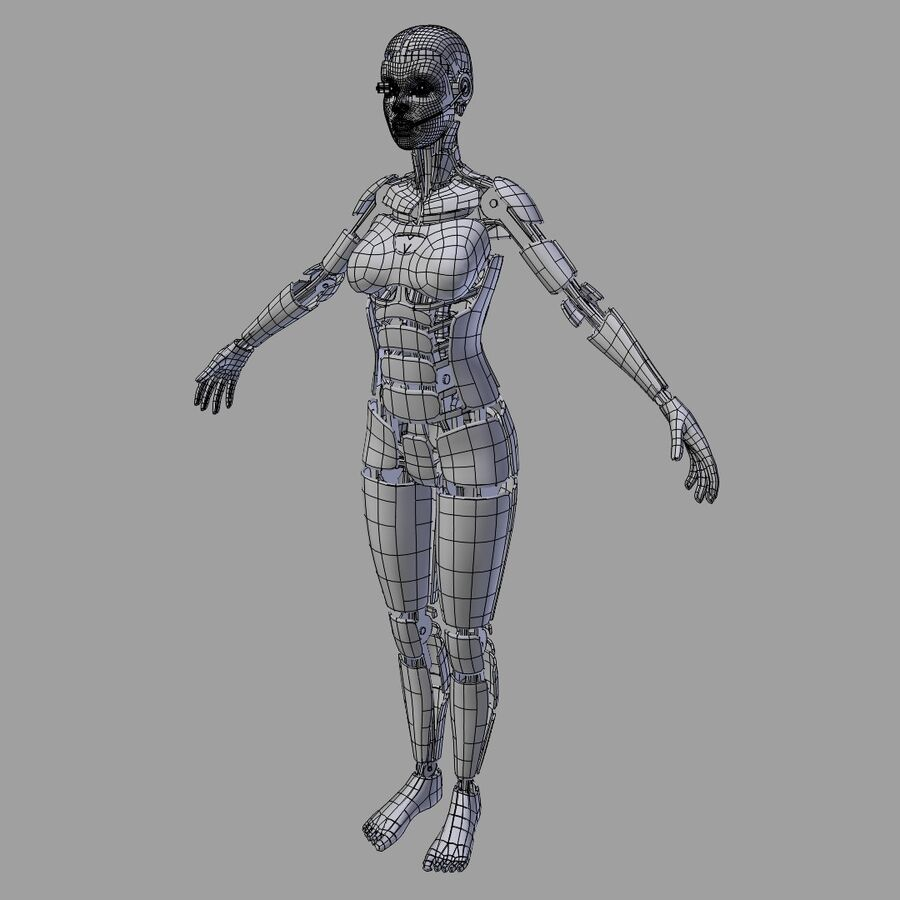 Cyborg Female royalty-free 3d model - Preview no. 4