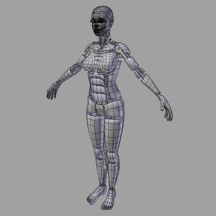 Cyborg Female royalty-free 3d model - Preview no. 5
