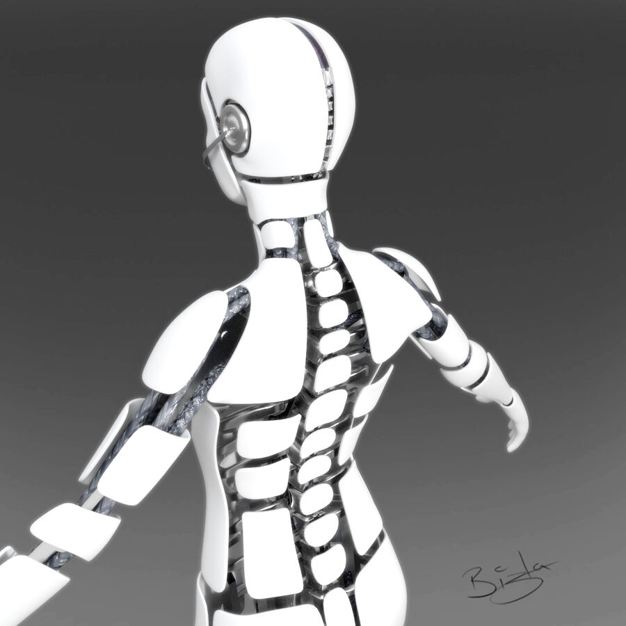 Cyborg Female royalty-free 3d model - Preview no. 3