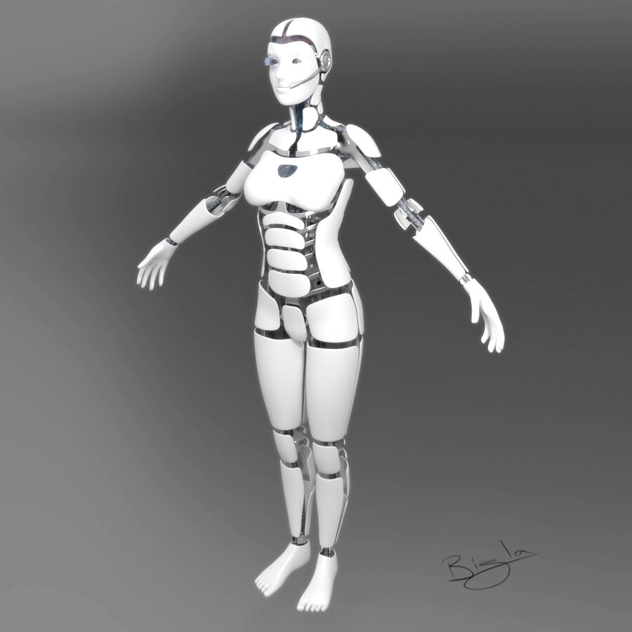 Cyborg Female royalty-free 3d model - Preview no. 2