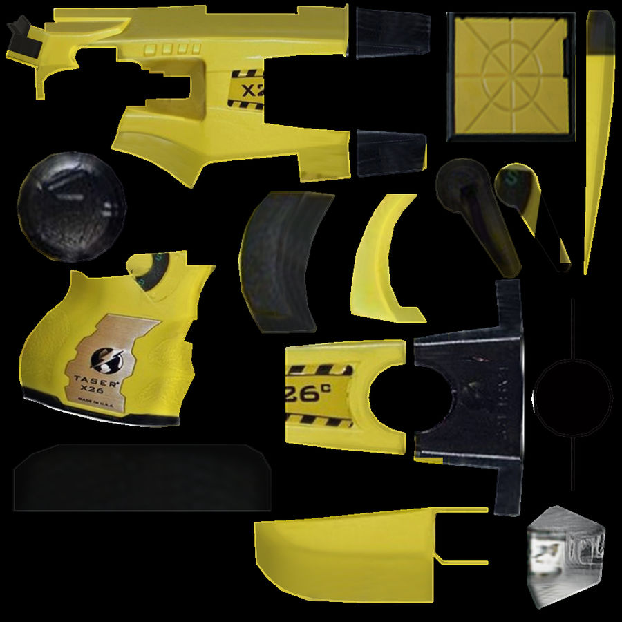 Taser Gun royalty-free 3d model - Preview no. 6