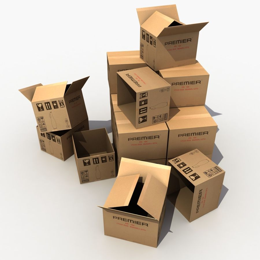 Cardboard Boxes royalty-free 3d model - Preview no. 2