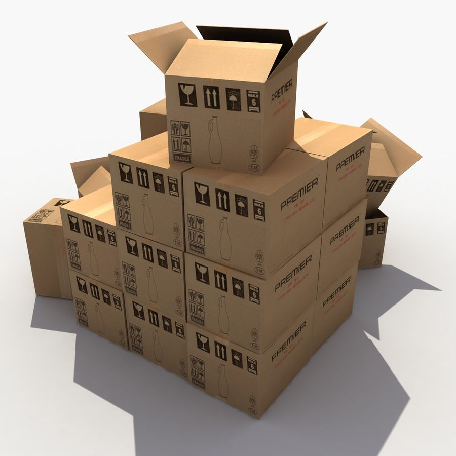 Cardboard Boxes royalty-free 3d model - Preview no. 3