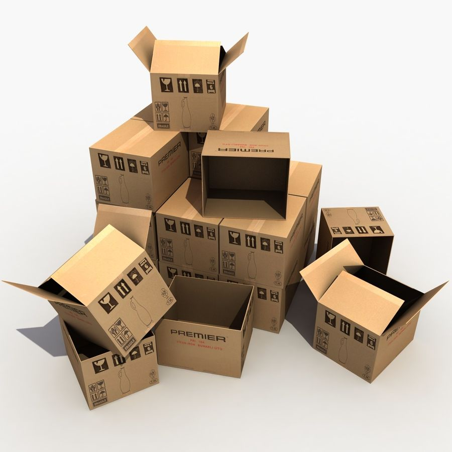 Cardboard Boxes royalty-free 3d model - Preview no. 1