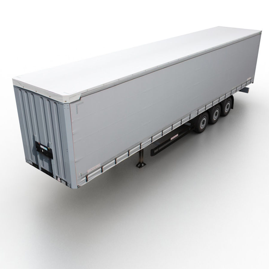 Trailer Cargo Box Tent royalty-free 3d model - Preview no. 1