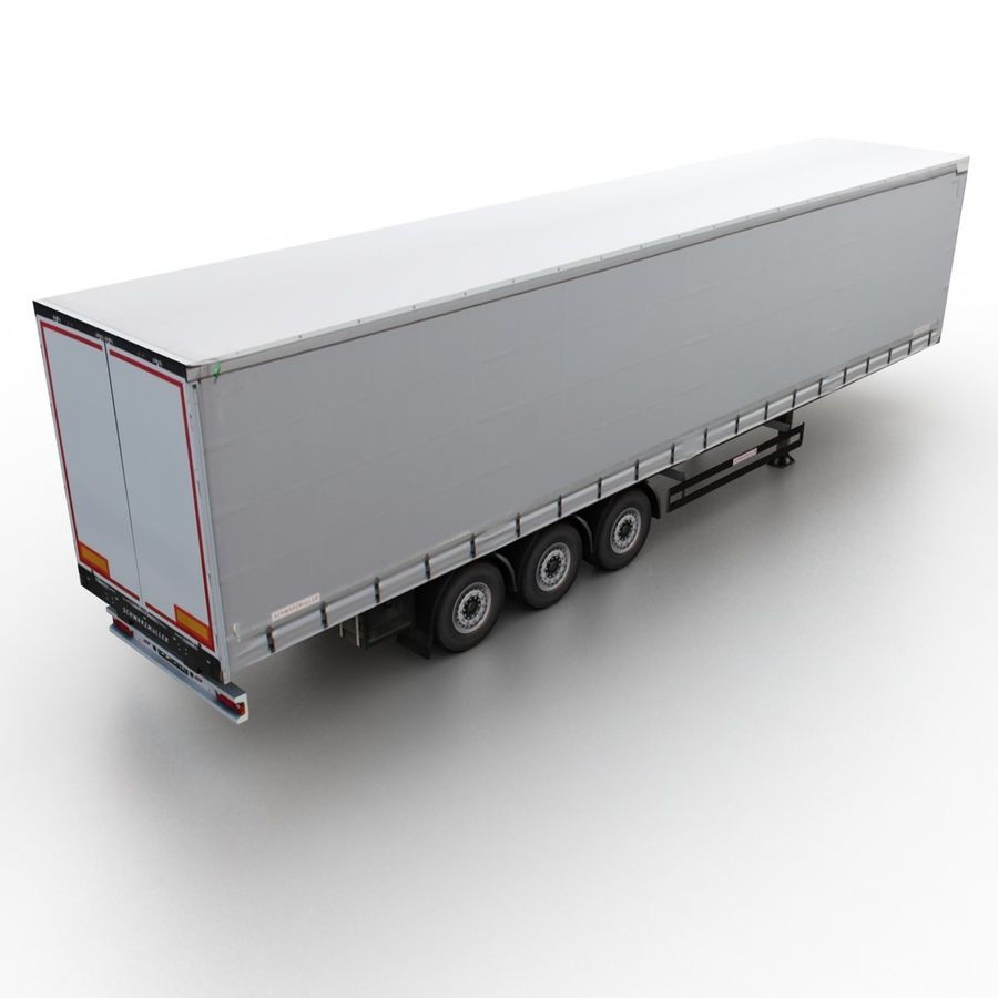 Trailer Cargo Box Tent royalty-free 3d model - Preview no. 2