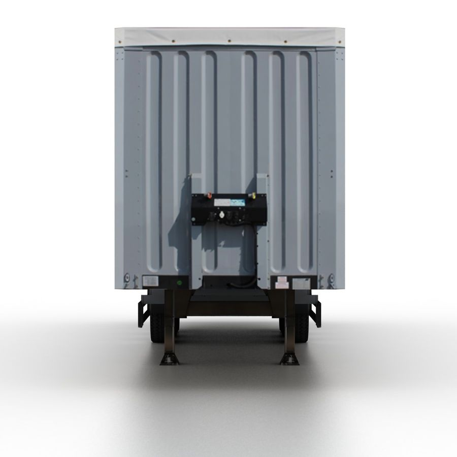Trailer Cargo Box Tent royalty-free 3d model - Preview no. 4