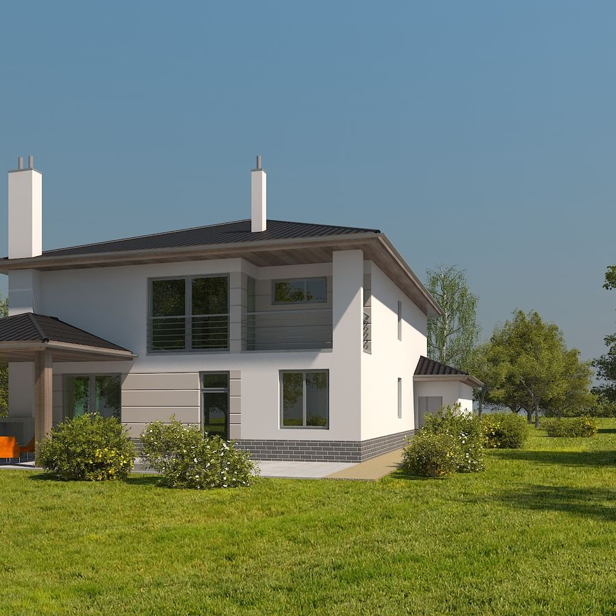 Photorealistic Family House #2 royalty-free 3d model - Preview no. 3