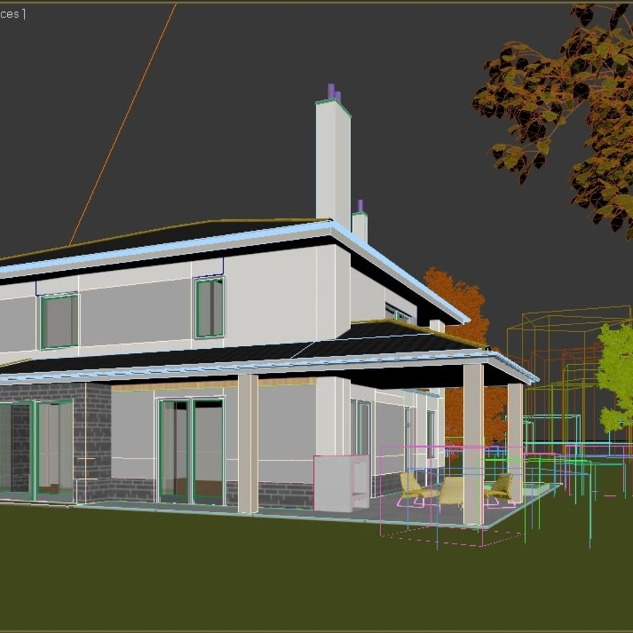 Photorealistic Family House #2 royalty-free 3d model - Preview no. 4