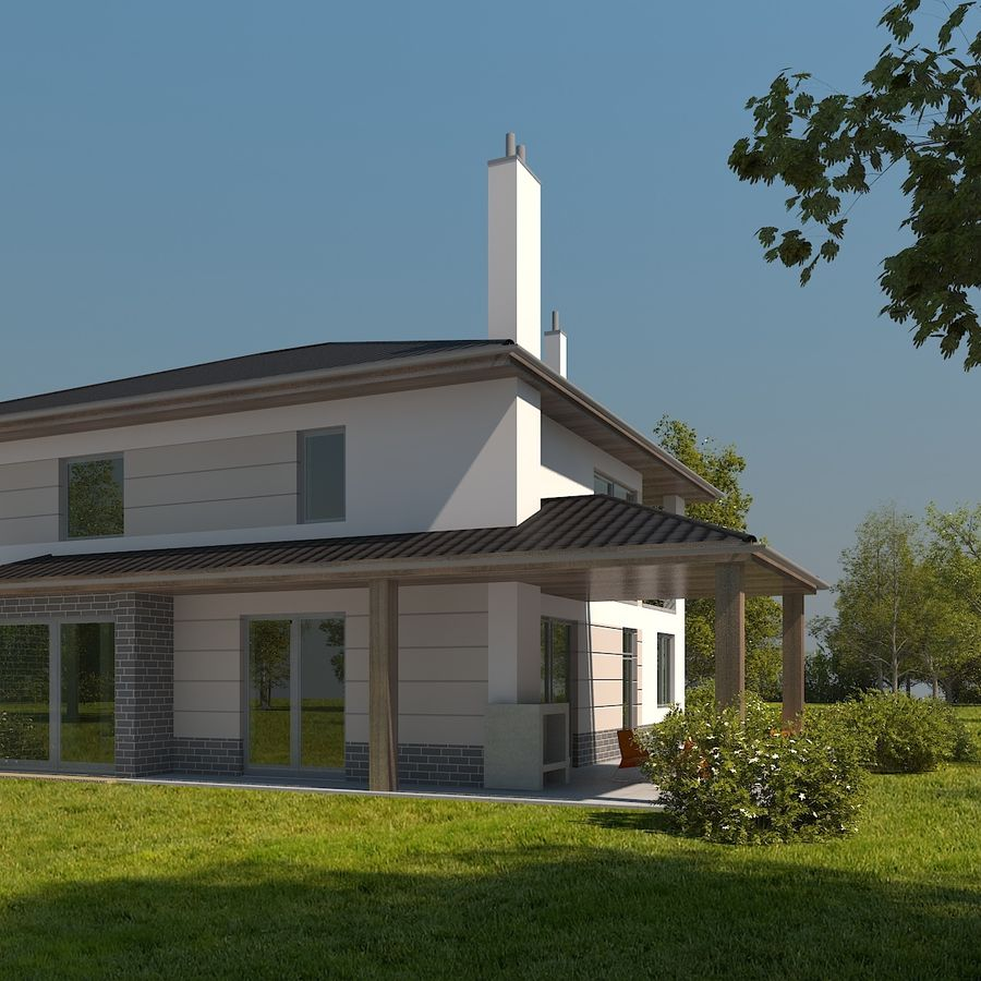 Photorealistic Family House #2 royalty-free 3d model - Preview no. 2