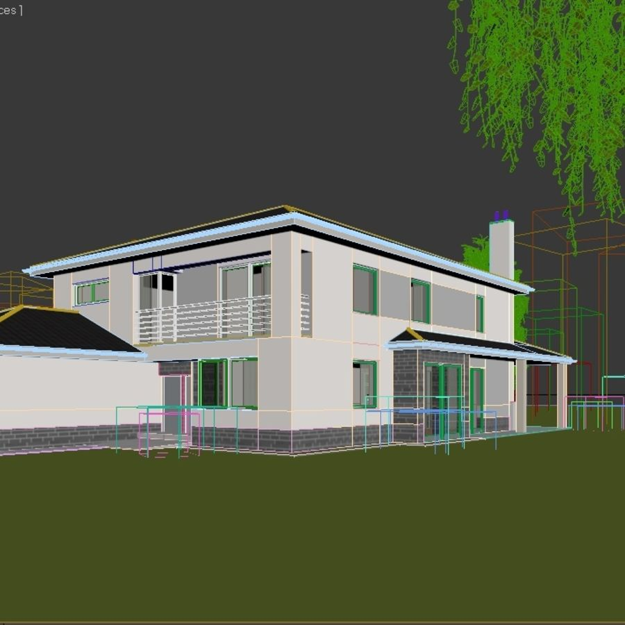 Photorealistic Family House #2 royalty-free 3d model - Preview no. 5
