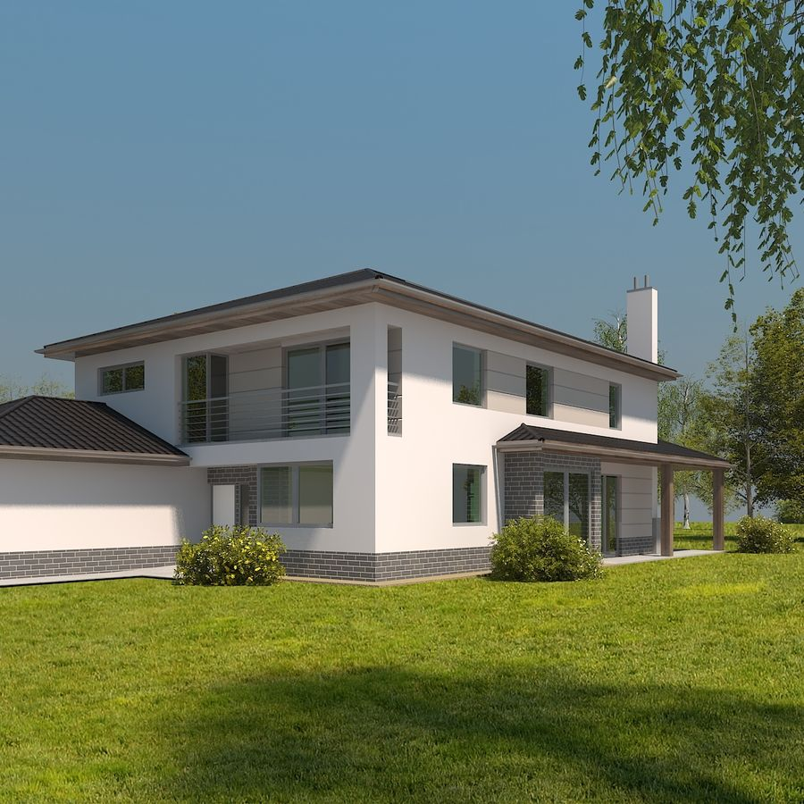 Photorealistic Family House #2 royalty-free 3d model - Preview no. 1
