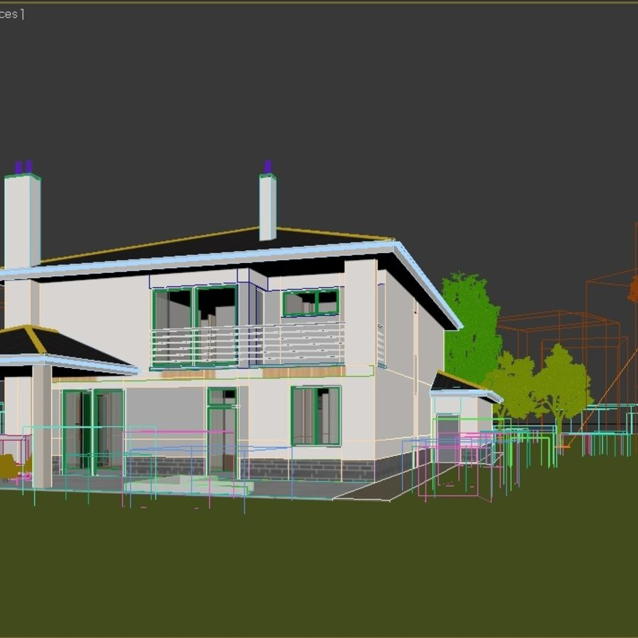 Photorealistic Family House #2 royalty-free 3d model - Preview no. 6