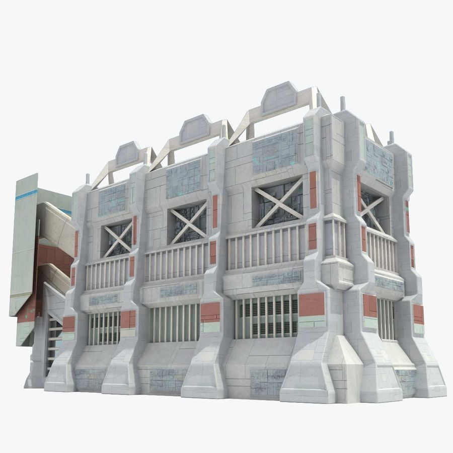 Futuristic Sci Fi Building royalty-free 3d model - Preview no. 1