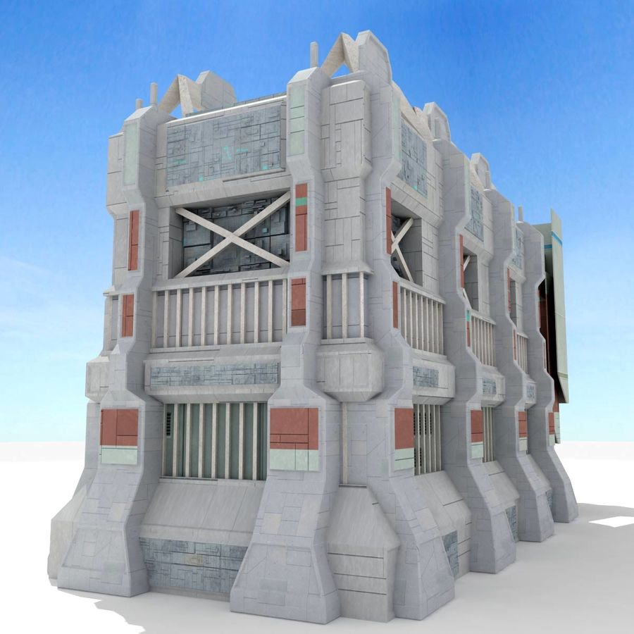 Futuristic Sci Fi Building royalty-free 3d model - Preview no. 7