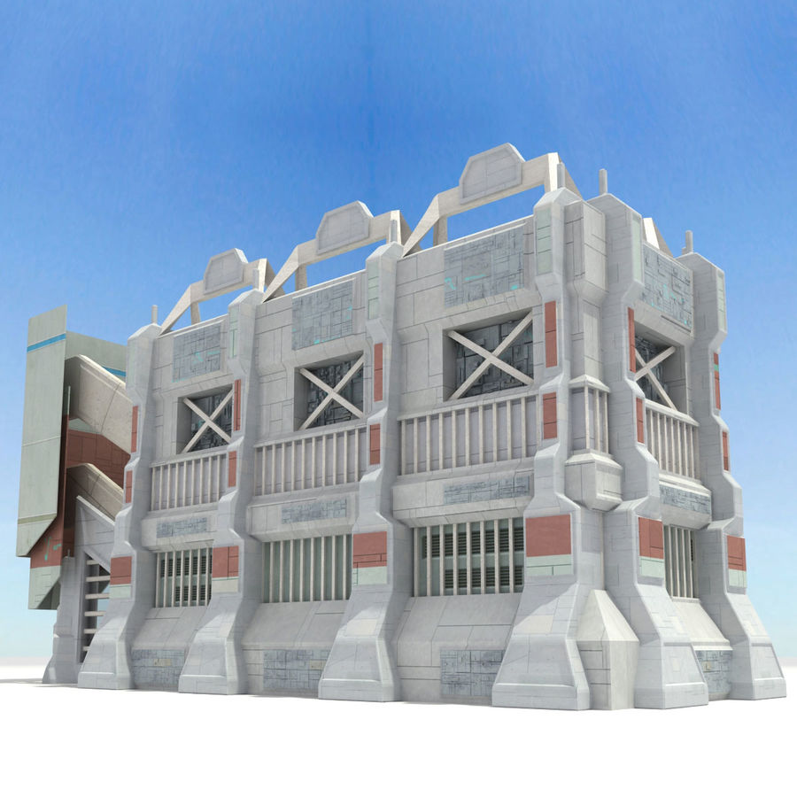 Futuristic Sci Fi Building royalty-free 3d model - Preview no. 2