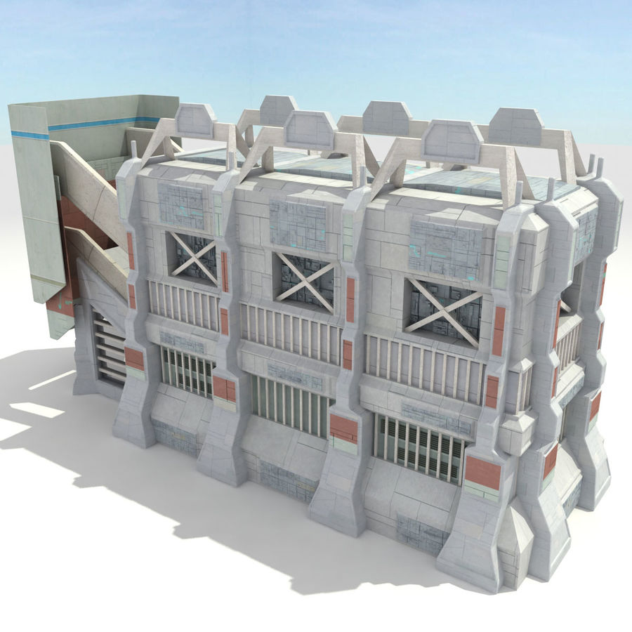 Futuristic Sci Fi Building royalty-free 3d model - Preview no. 3