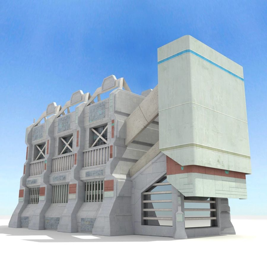 Futuristic Sci Fi Building royalty-free 3d model - Preview no. 5