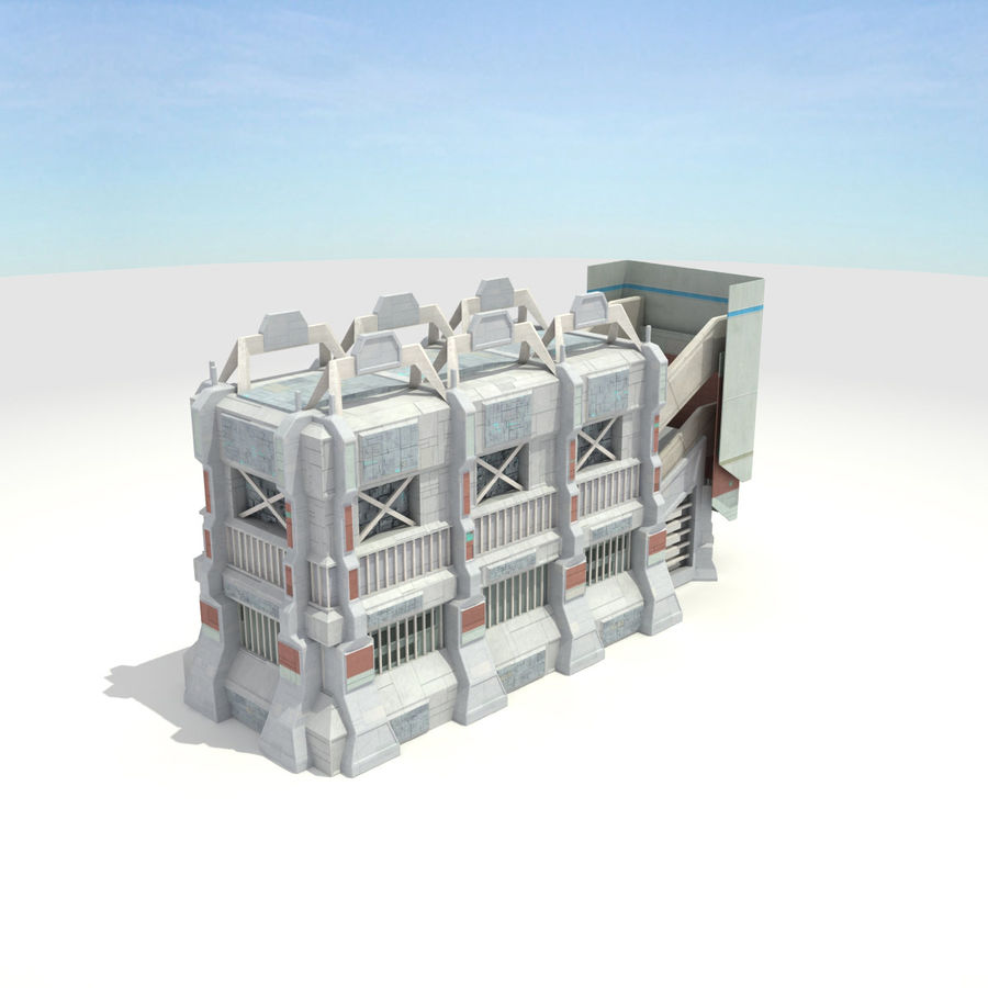 Futuristic Sci Fi Building royalty-free 3d model - Preview no. 4